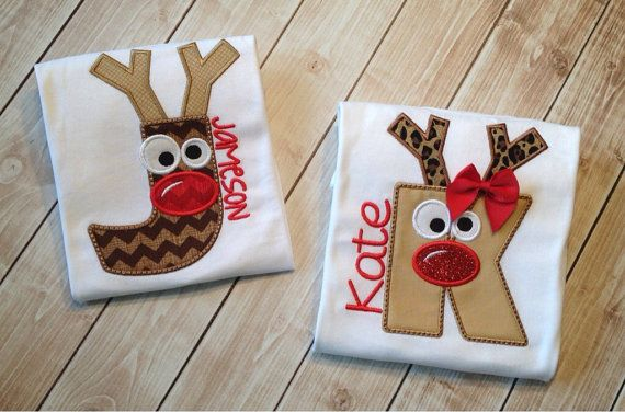 Reindeer Initial shirt by KoutureKid on Etsy