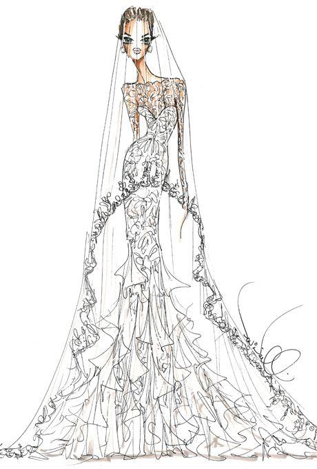 Designer Sketches of Angelina Jolie's Wedding Dress