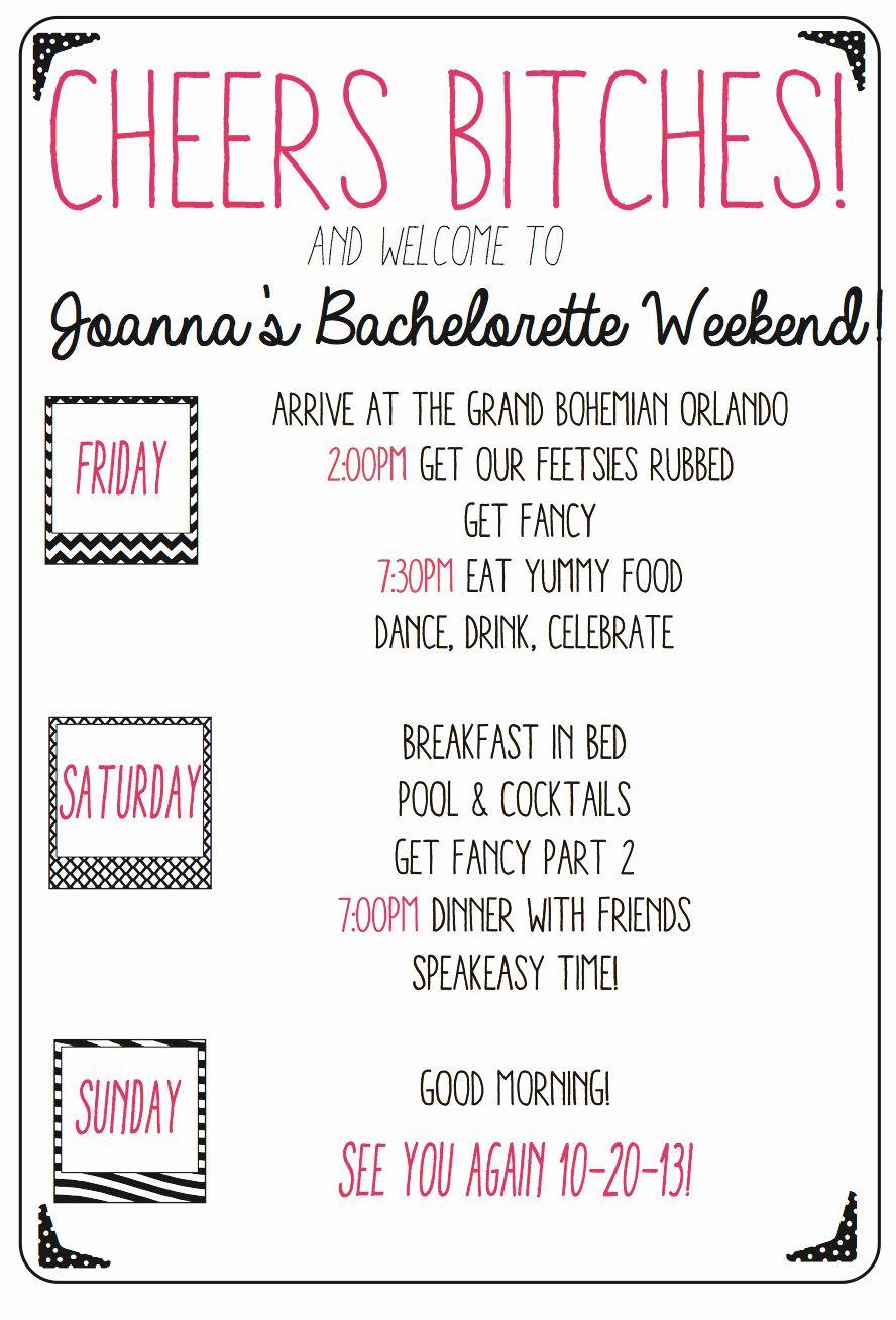 Bachelorette Party Agenda Template Awesome Custom