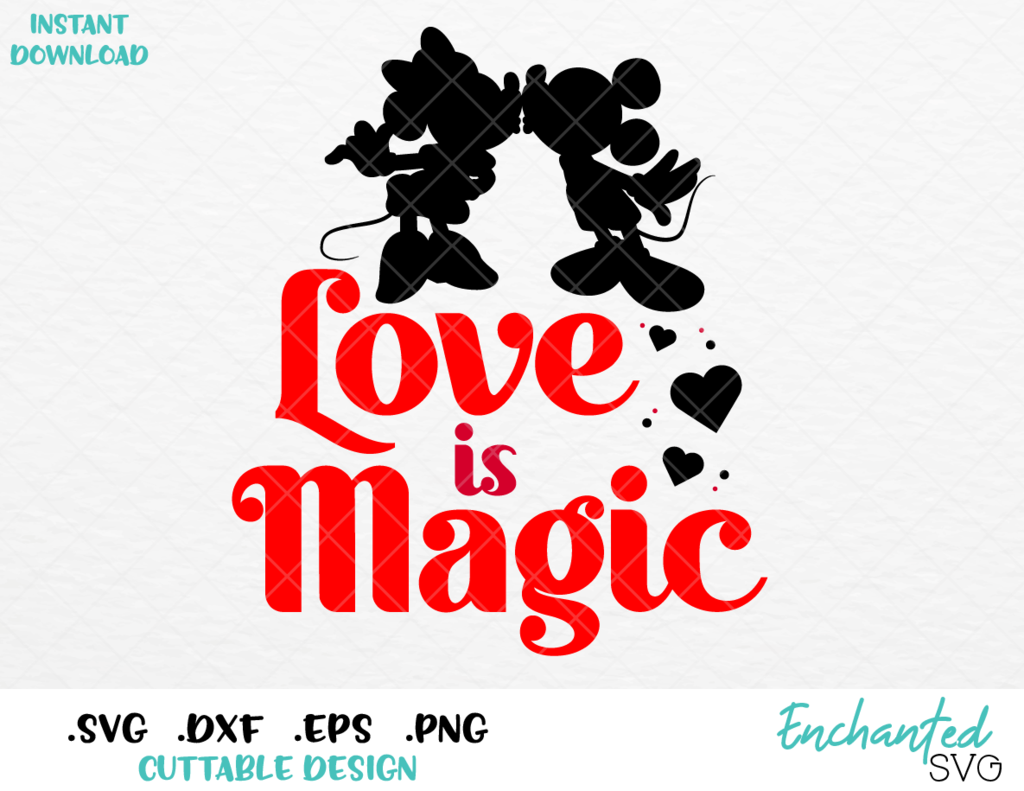 Download Minnie and Mickey Love is Magic Inspired SVG, EPS, DXF ...