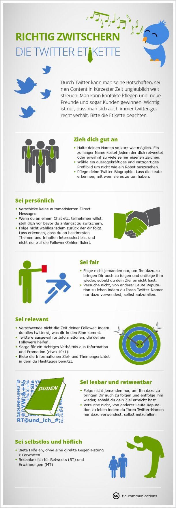 Richtig Zwitschern mit der Twitter-Etikette | Infografiken ...