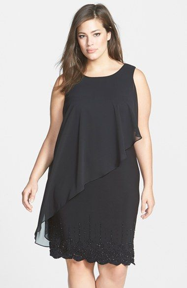 Xscape Chiffon Overlay Dress With Beaded Hem Plus Size Available