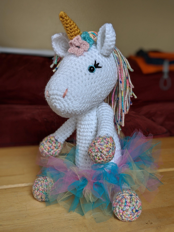 Large Stuffed Unicorn with Tutu, Girl's Stuffed Animal Toy