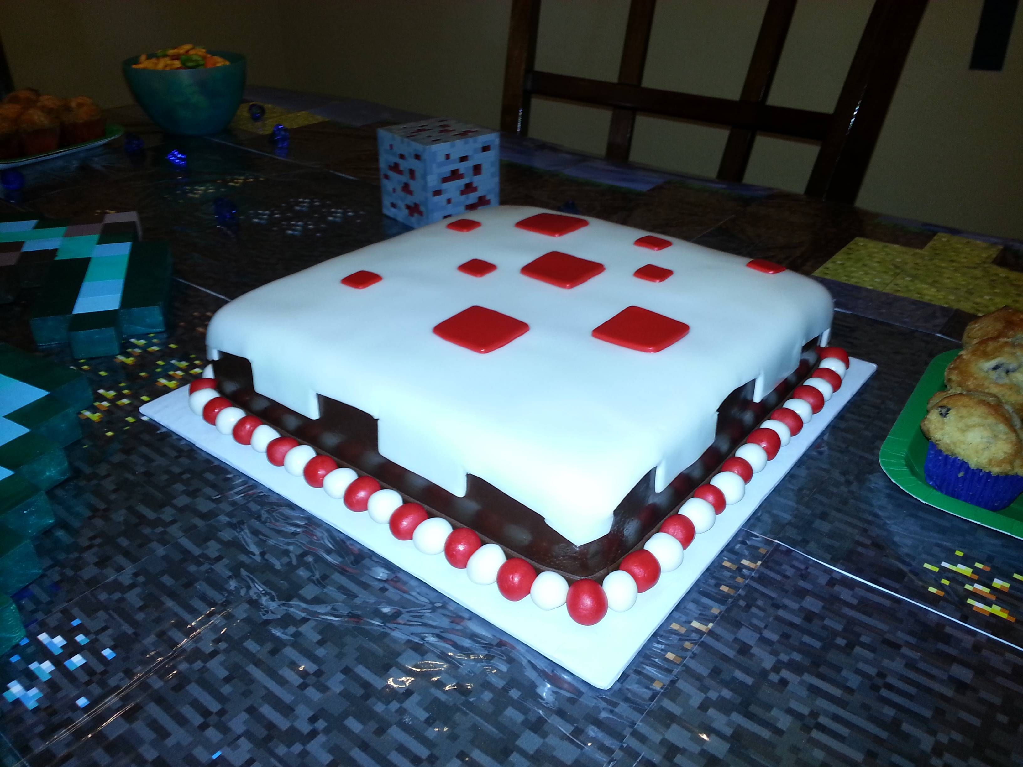 Minecraft Birthday Party Easy Fondant Cake Square Cake With