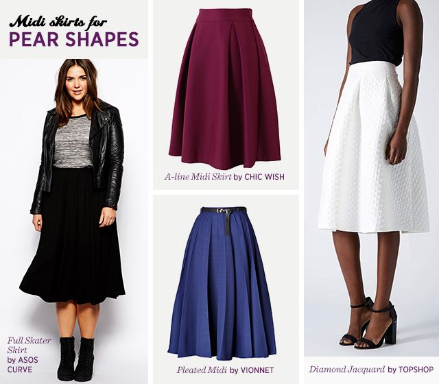 How to find the midi skirt that fits your body- Pear Shapes   plus ...