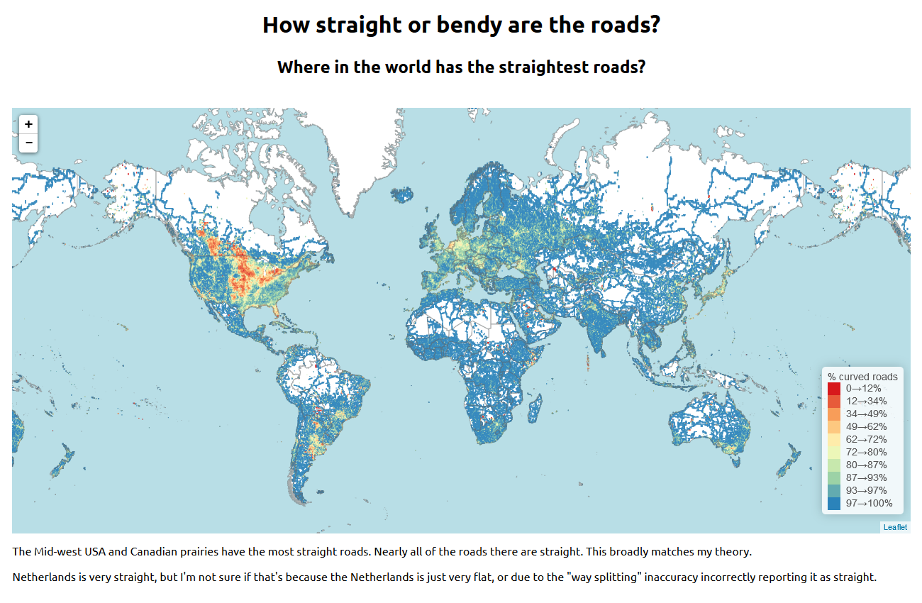 How straight or bendy are the roads where in the world has the where in the world has the straightest roads via technomancy using open sourced openstreetmap data zoom in see the interactive map gumiabroncs Gallery