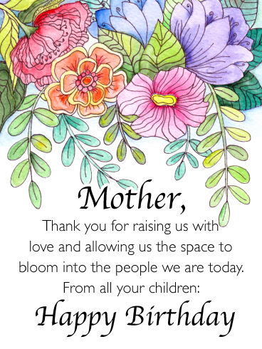 Space To Bloom Happy Birthday Card For Mother From Us Birthday Greeting Cards By Davia Birthday Cards For Mother Happy Birthday Mom Images Flower Birthday Cards