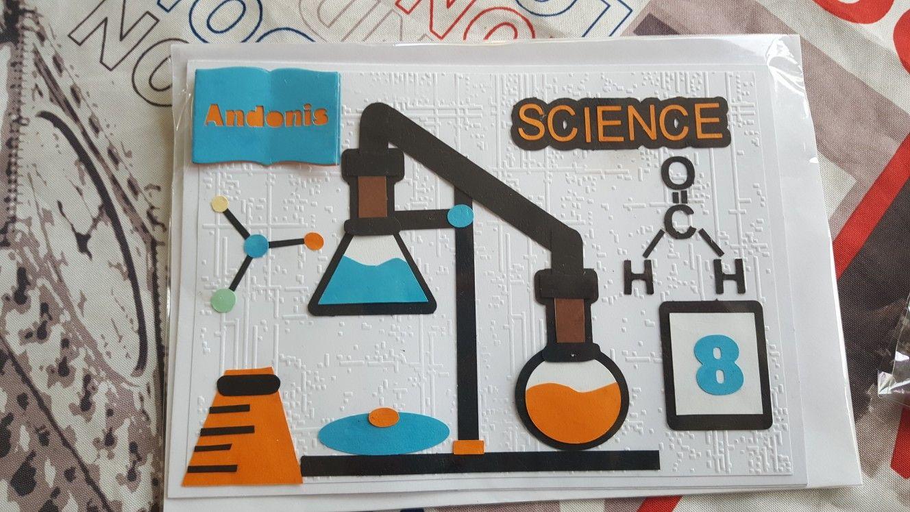 Handmade science biology chemistry lab birthday card