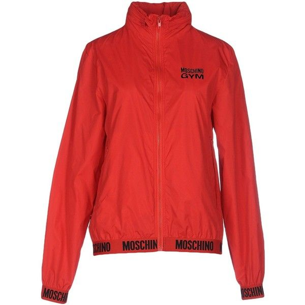 Moschino Underwear Jacket (410 BRL) ❤ liked on Polyvore featuring outerwear, jackets, red, long sleeve turtleneck top, multi pocket jacket, red turtleneck, moschino and long sleeve turtleneck