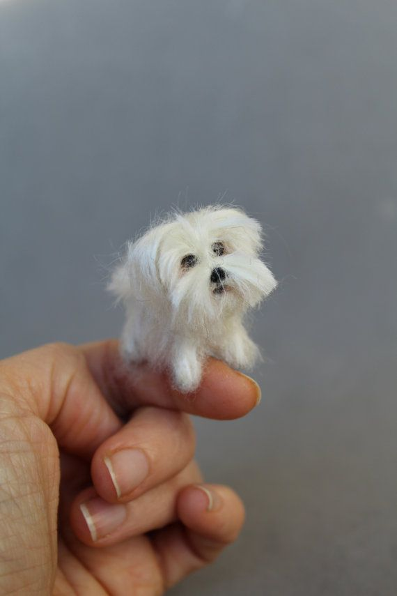 READY TO SHIP Ooak Needle Felted miniature dog-eco by ArteAnRy