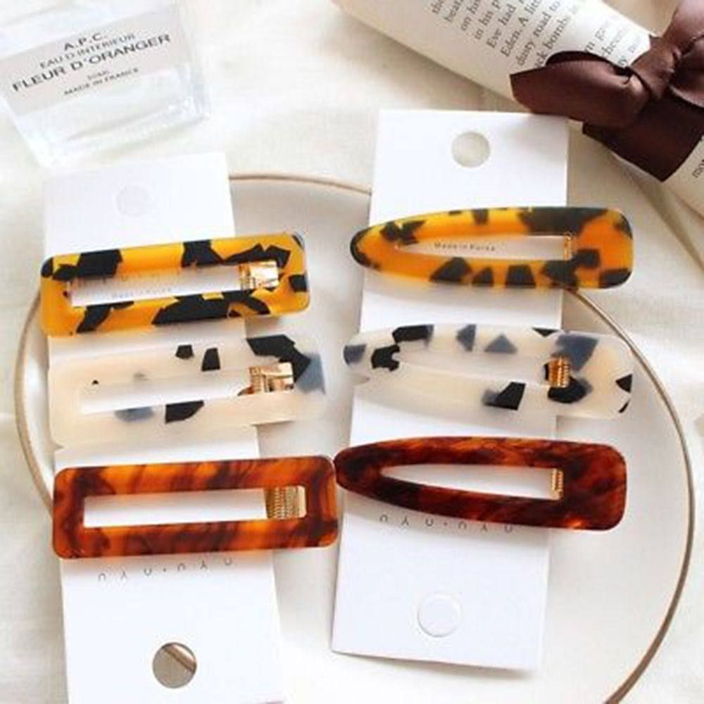 Barrettes Geometric Hairpins  Acrylic Hair Clips Rectangle Hairgrips