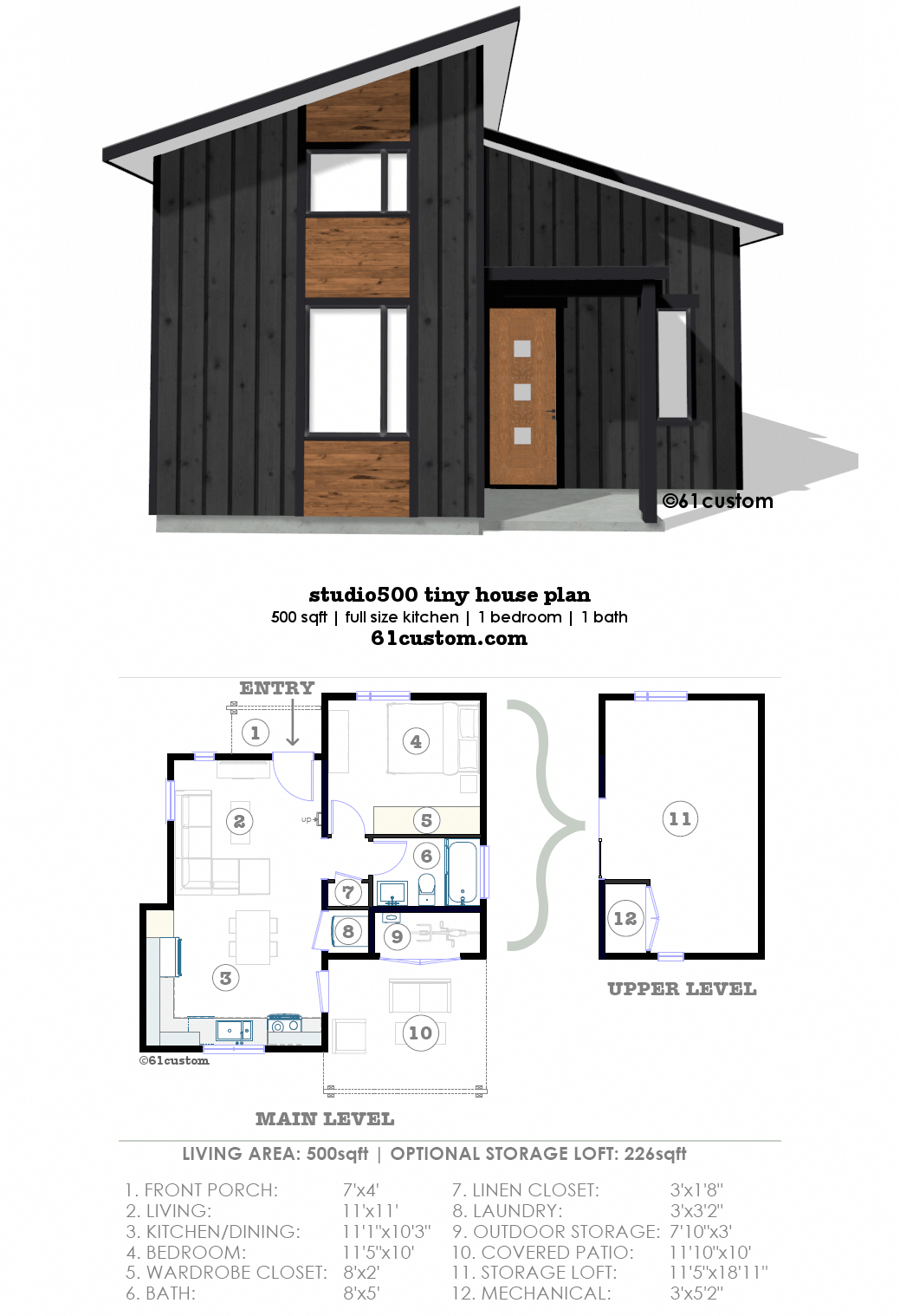 Studio500 Modern Tiny House Plan 61custom One Bedroom House Plans Modern Tiny House Tiny House Plan
