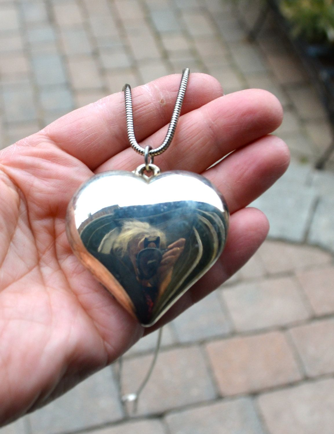 Large silver heart necklace lovely retro heart shaped pendant large silver heart necklace lovely retro heart shaped pendant necklace silver pendant by studiovintage on etsy mozeypictures Images