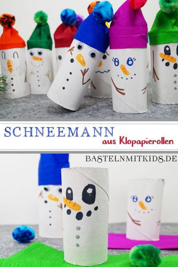 Schneemann basteln mit Kindern - Bastelnmitkids