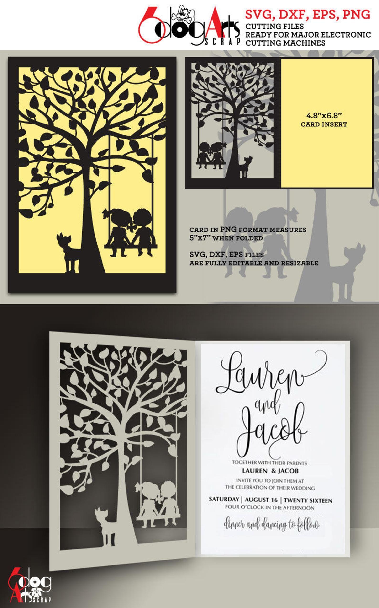 Tree Swing Lace Card Template Digital Cut Svg Dxf Files