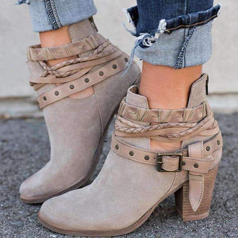 Women Boot Fashion Casual Ladies Shoes Boots Suede Leather Buckle Boots High Heeled Zipper Snow Shoes For Femme