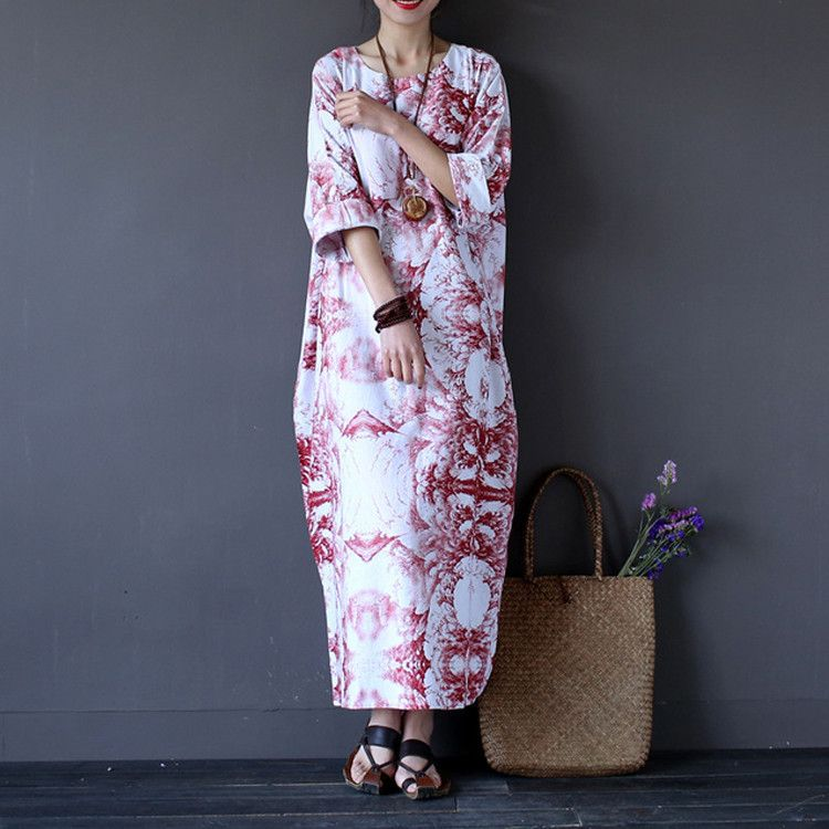 6ee5b2c2930 Women red printing summer cotton linen dress .Hey there