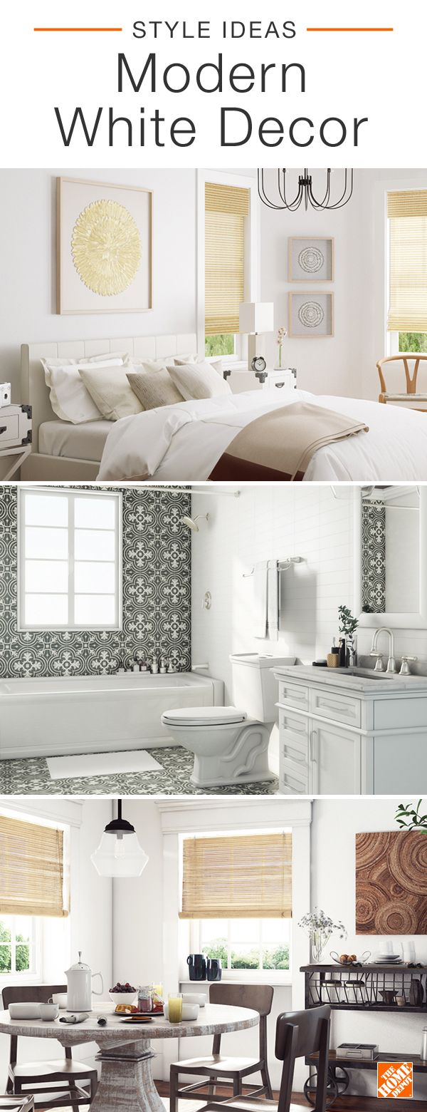 Predominantly white spaces create an airy and