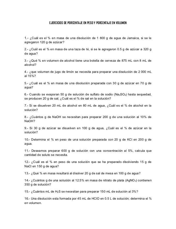 Ejercicios De Porcentaje En Peso Y Porcentaje En Volumen 1 Cuál Es El En Masa De Una Disolución De Aplicaciones Para Educación Clase De Química Química