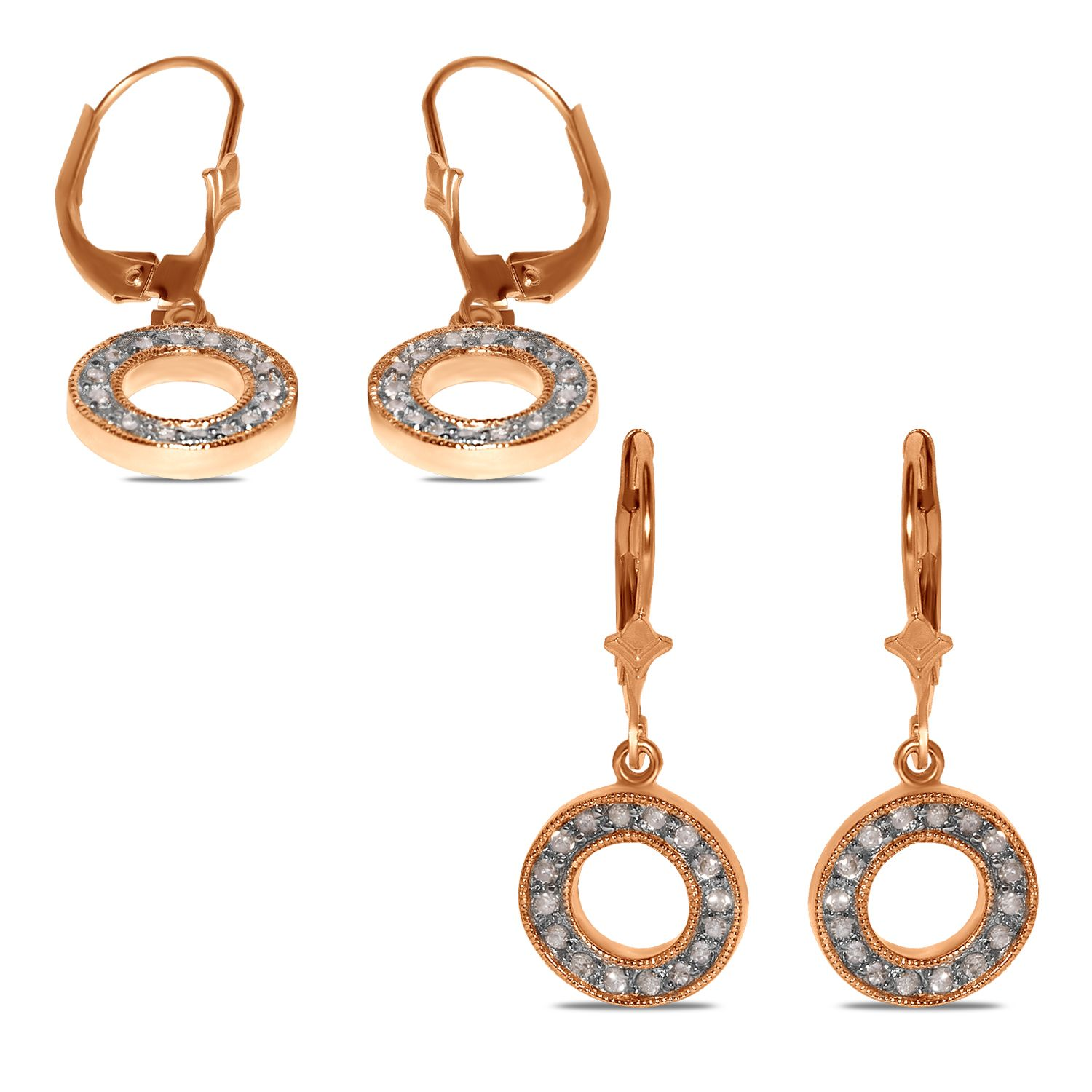Ladies cttw lever back circle earrings in k yellow gold