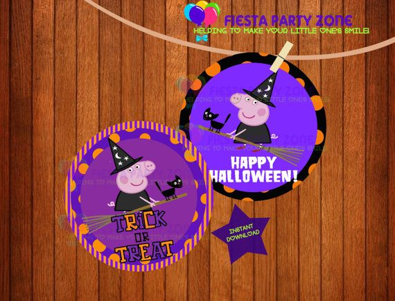 Halloween cupcake toppers by Peppa Pig Witch https://www.etsy.com ...