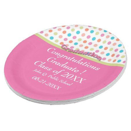 sc 1 st  Pinterest & Pink with Polka Dots Graduation Paper Party Plates