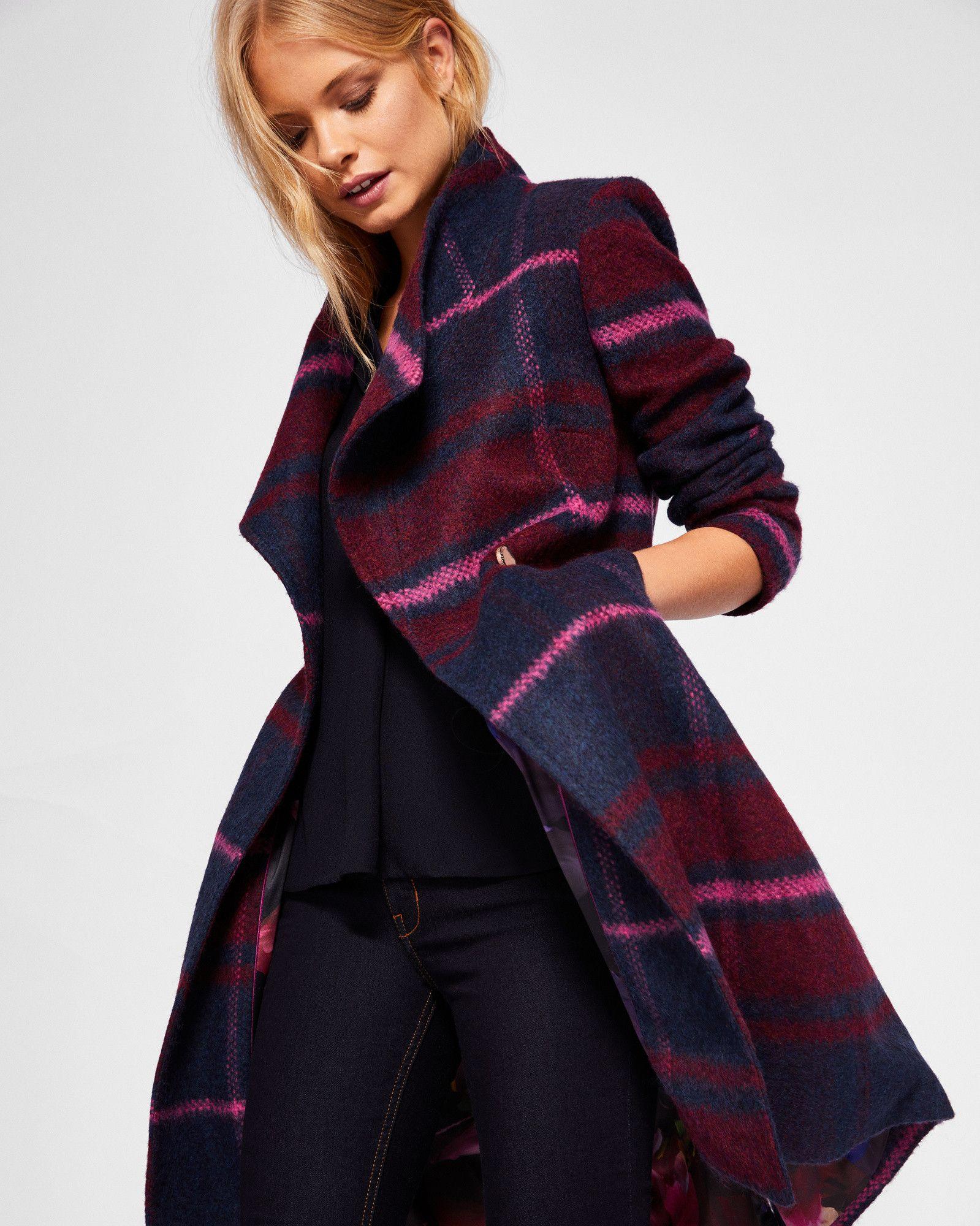 FREDYE Check long wrap coat #TedToToe