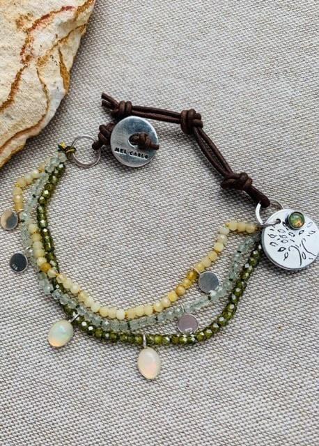 Opal Multi Strand Bracelet Prehnite