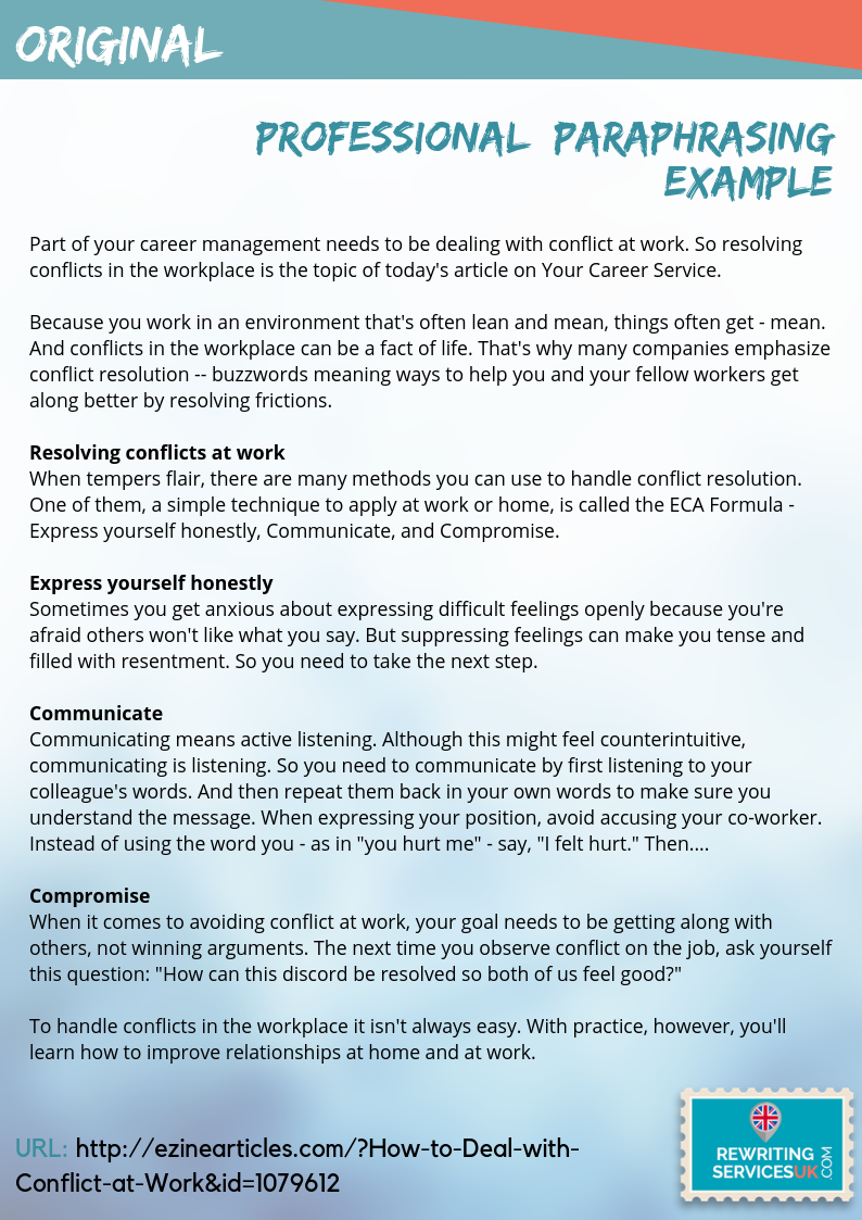 Professional Uk Paraphrase Example Resolving Conflict Career Management Can You Yourself