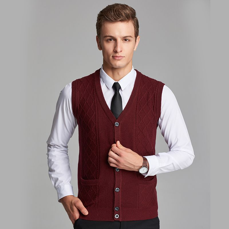 New Arrival 2016 Autumn Mens Knitted Cashmere Sweater Vest Plain ...