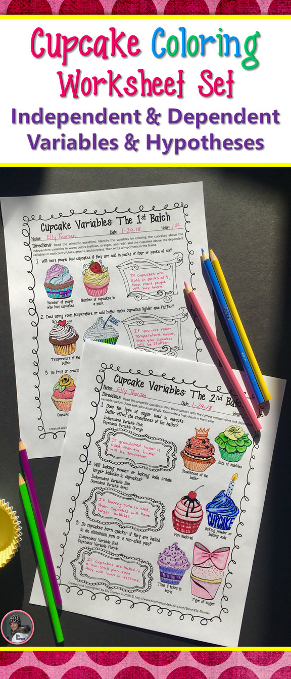 Cupcake Variables Coloring Worksheet Set Hypotheses and Variables
