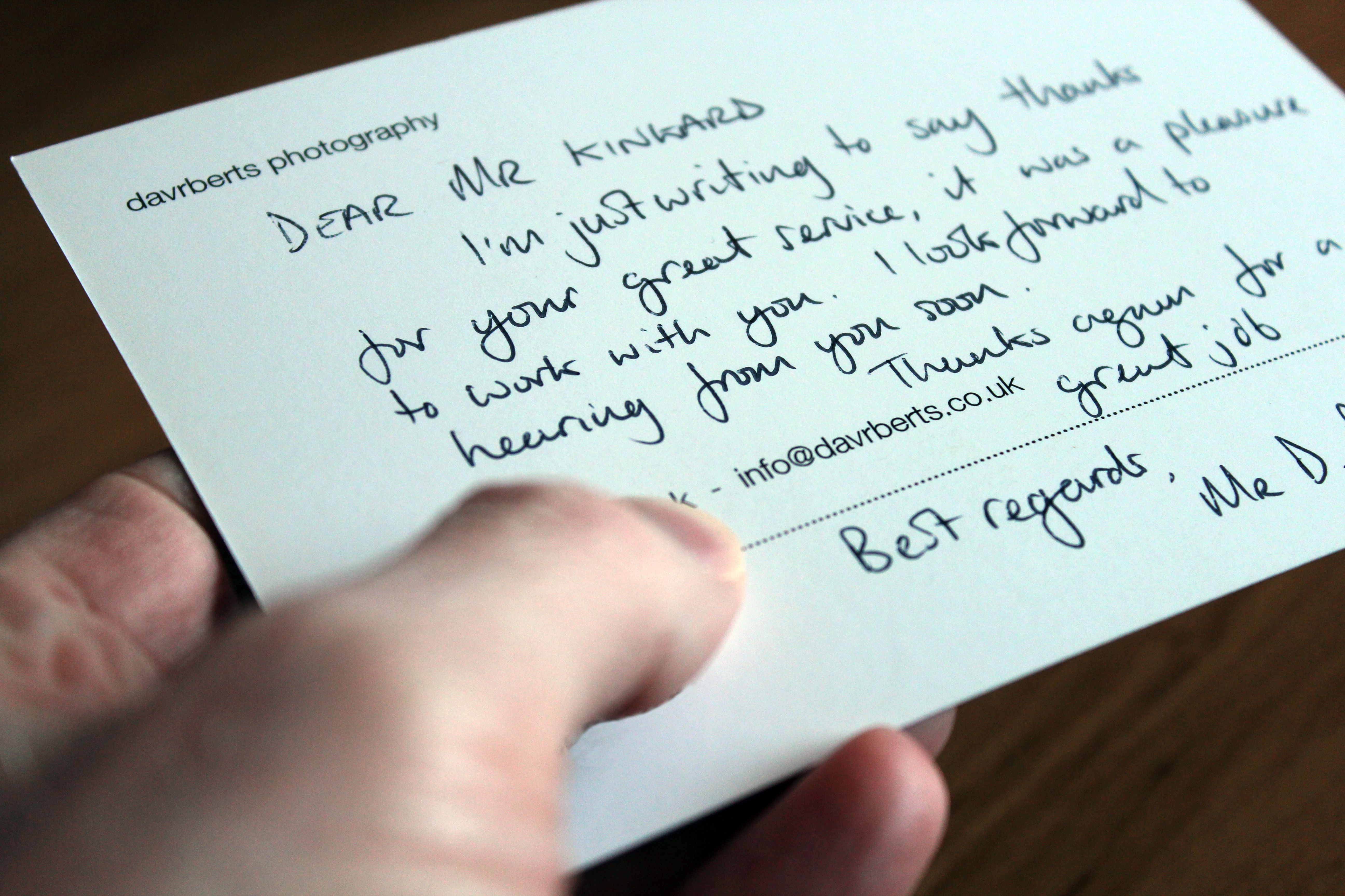 Write A Business Thank You Note