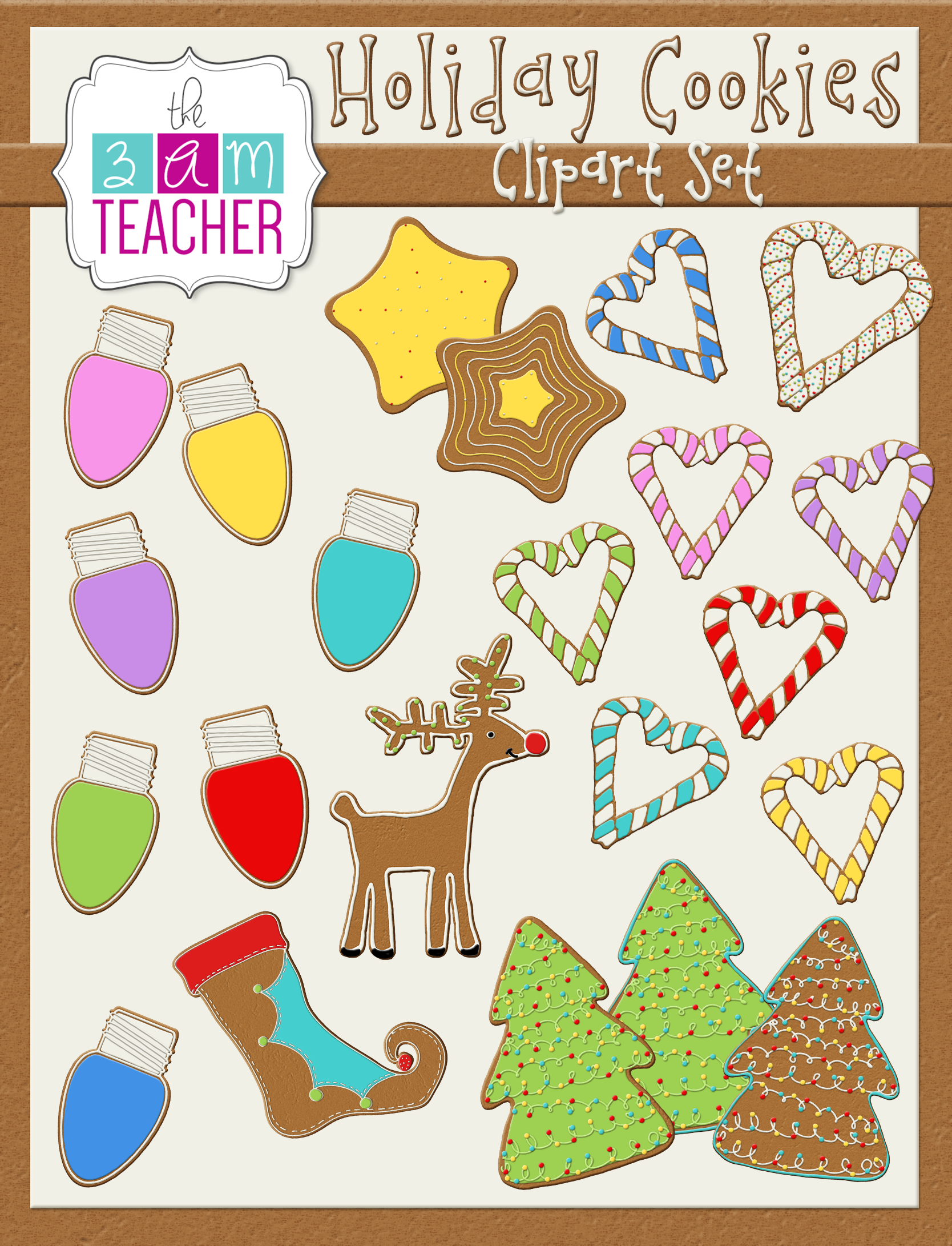 colorful gingerbread holiday cookie clipart images by the 3am teacher 5 00 [ 1668 x 2182 Pixel ]