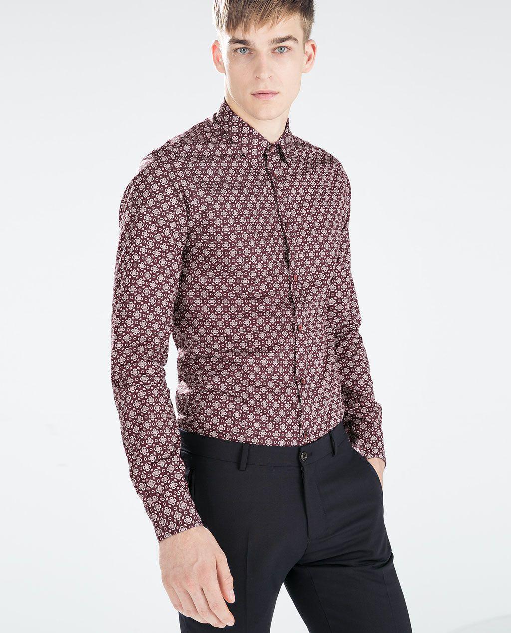 62649f00 ZARA - MAN - GEOMETRIC PRINT SHIRT | Mens fashion | Printed shirts ...
