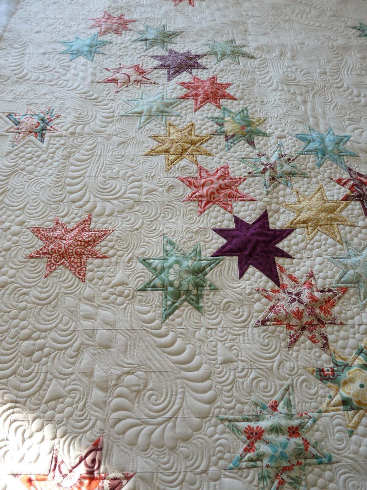 Falling Stars quilt, Beautiful Machine quilting by Margretgunn ...