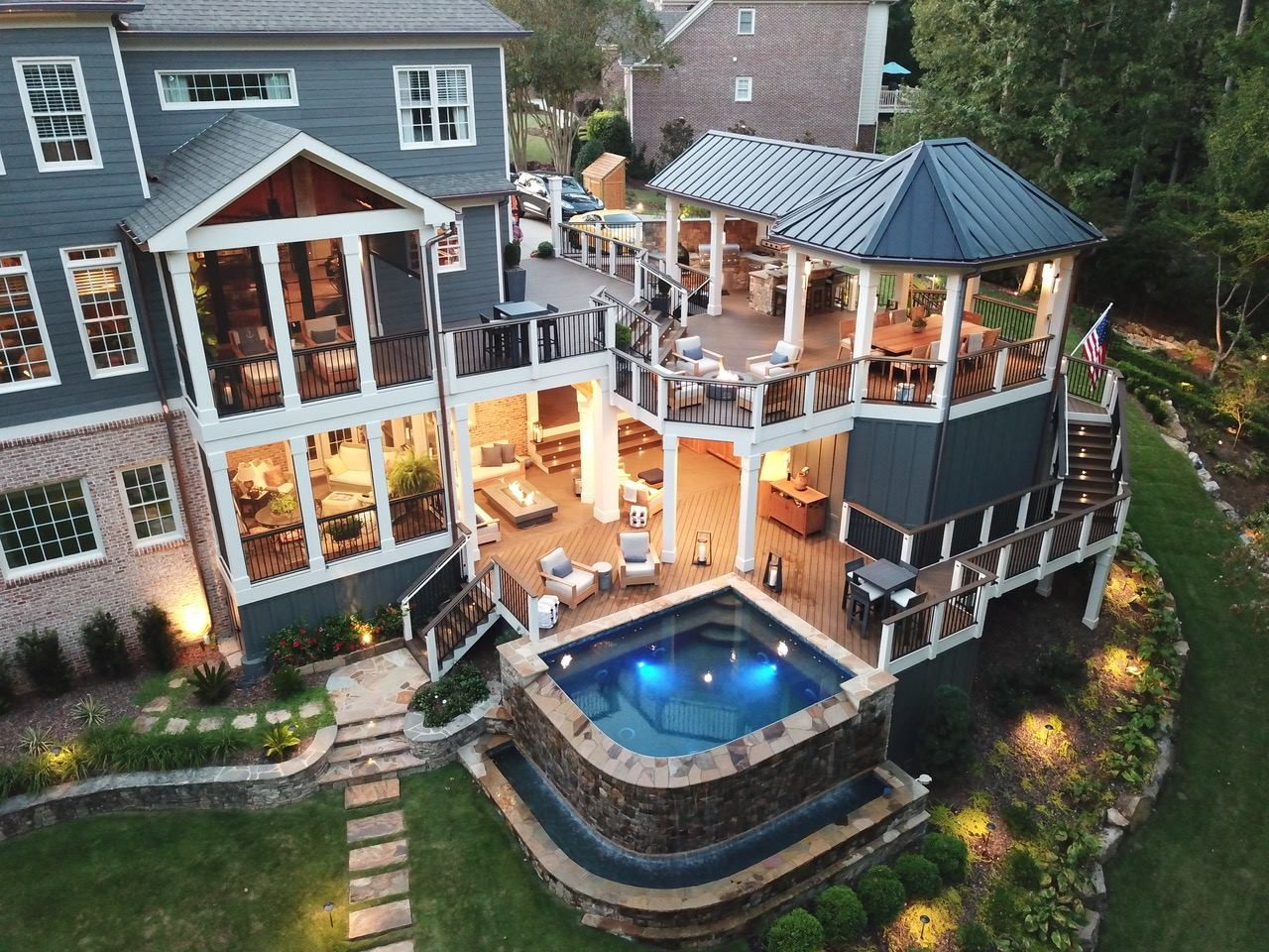 Dream Home With Two Story Enclosed Deck And Pool Dream House