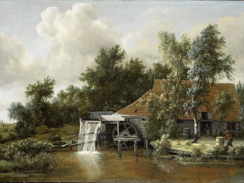 Le moulin à eau, Meindert Hobbema, c. 1666. Huile sur panneau, 60,5 ...