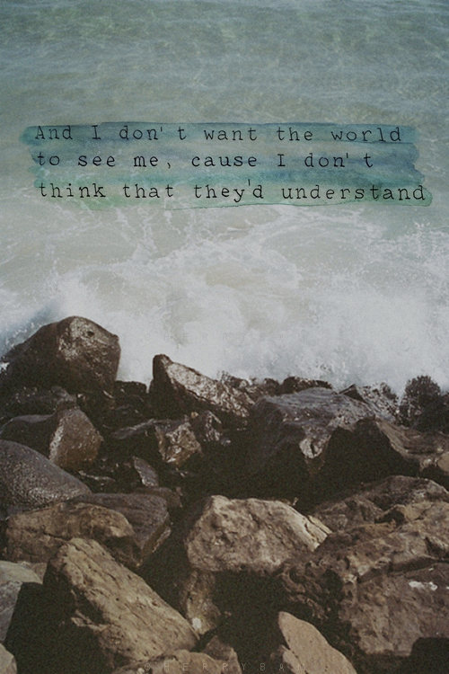 And I Dont Want The World To See Me Cause I Dont Think That They