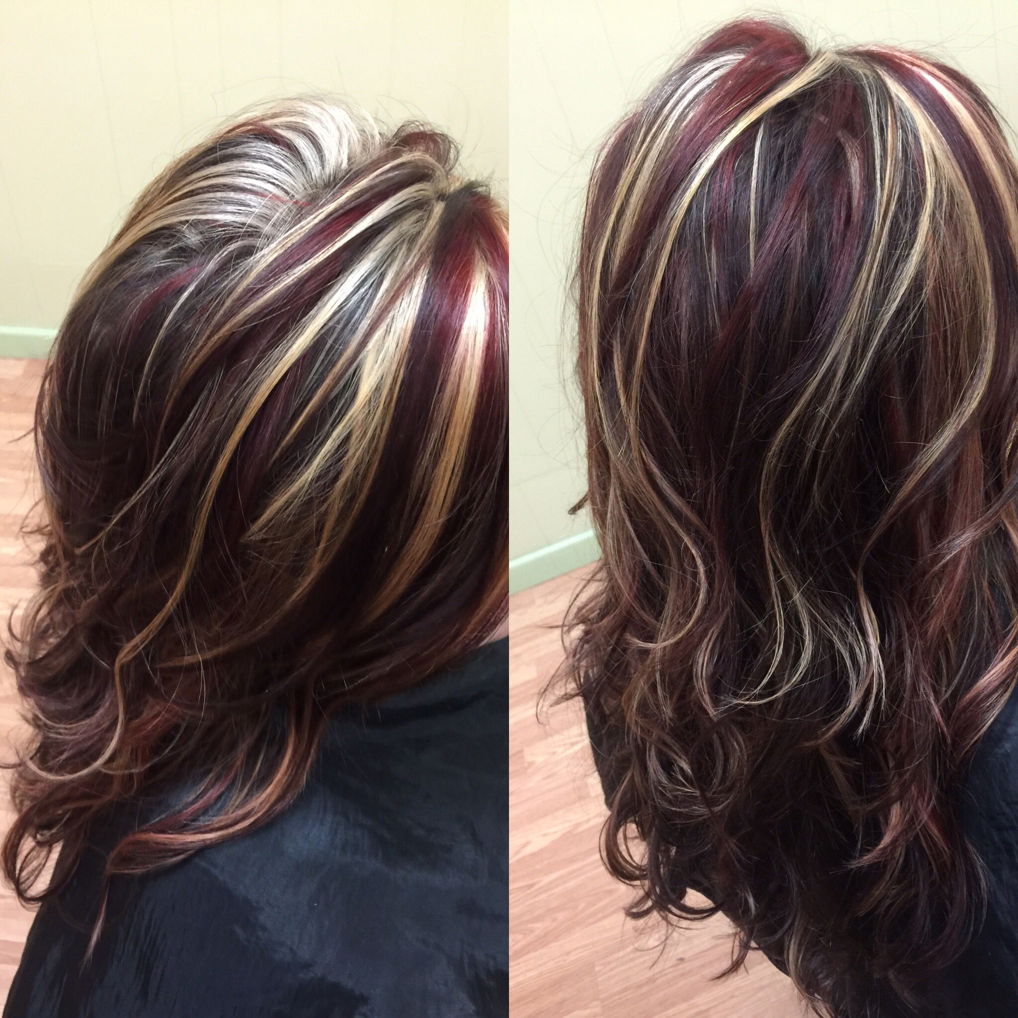Red violet with some blonde highlights | Hair by Francesca ...