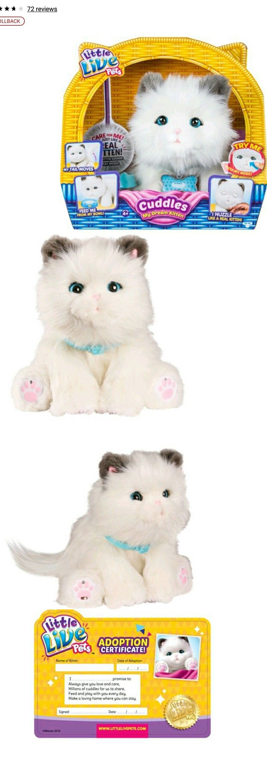 Animals 145942 New Little Live Pets My Dream Kitten Cuddles Interactive Toy White Cat Buy It Now Only 34 Pets Cuddling Little Live Pets Kitten Plush Toy