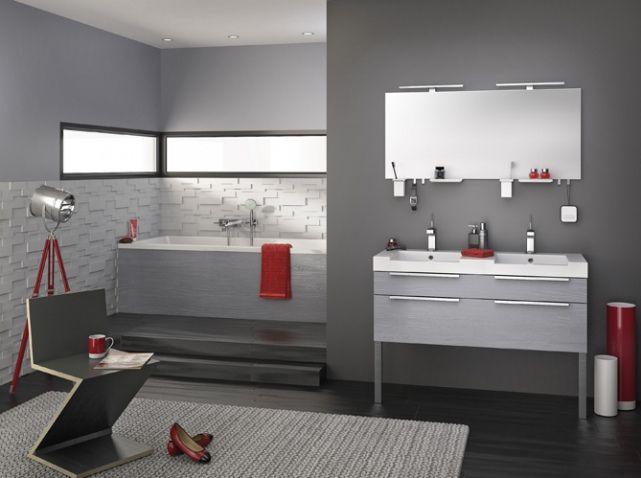 Salle de bains grise et rouge delpha Salle De Bains Pinterest