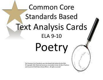 Poetry Analysis Task Cards:CCSS Literary Analysis: ELA 9