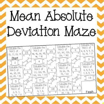 Mean Absolute Deviation Maze School Ideas Pinterest Math