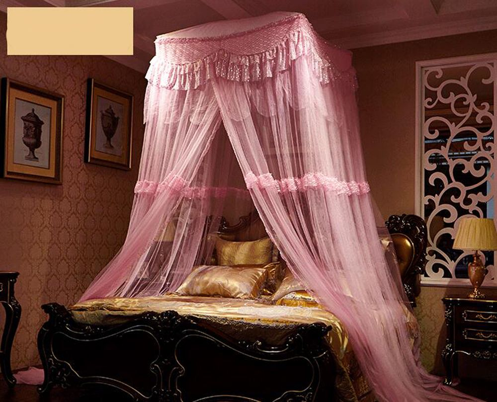 Large Pink Princess Square Curtain Dome Lace Mosquito Net Solid Mosquito Net Bed Canopy Netting mosquito net for double bed