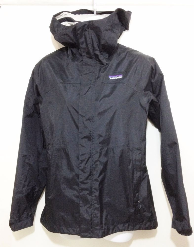 Patagonia Black Nylon Hooded Fitted Raincoat Rain Jacket Womens XS ...