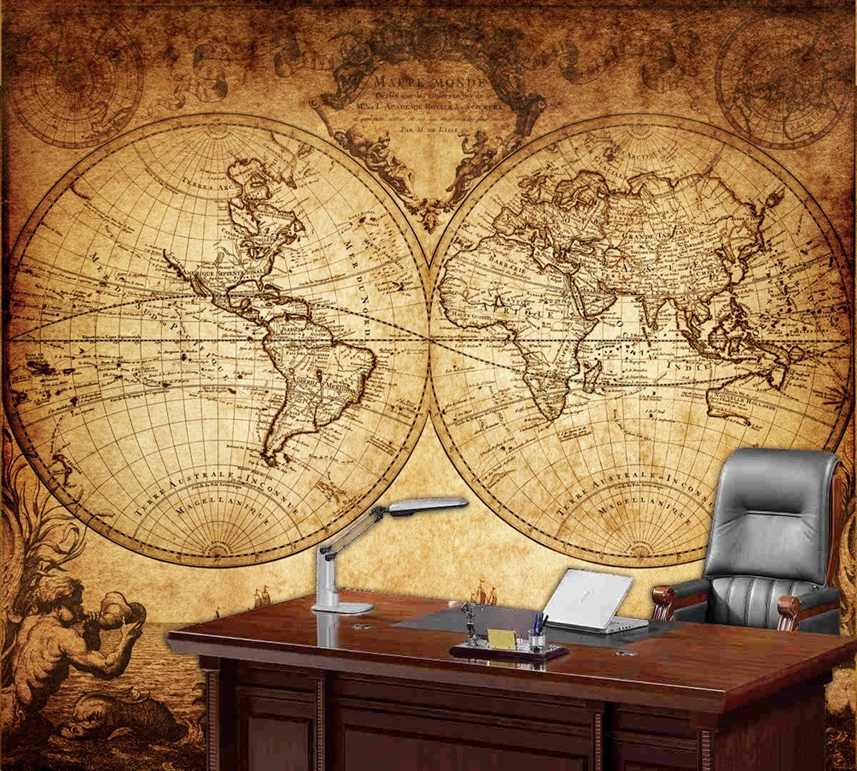 World Map Wall Mural Vintage Old Map Of The World 1733 Repositionable Peel Stick Fabric Wall Paper Map Murals World Map Wall World Map Wallpaper