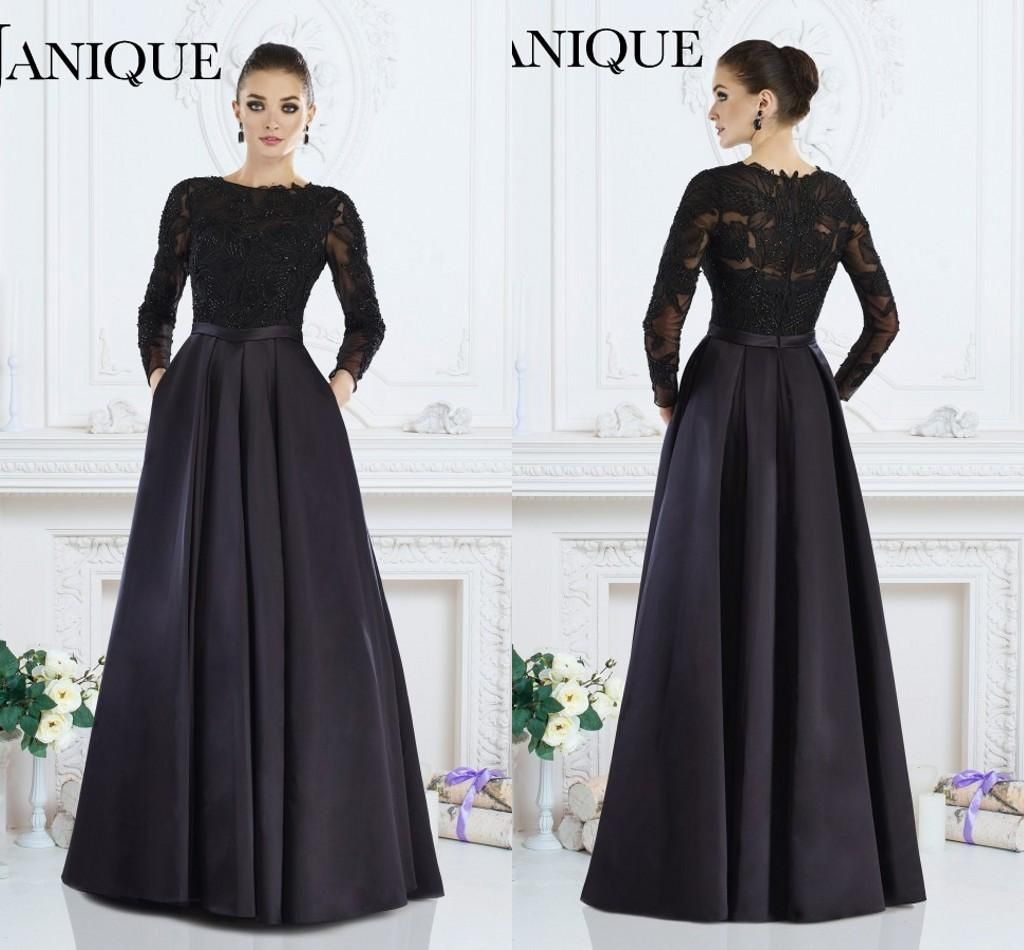 New 2018 black formal gown a line jewel long sleeve lace for Long sleeve dresses to wear to a wedding