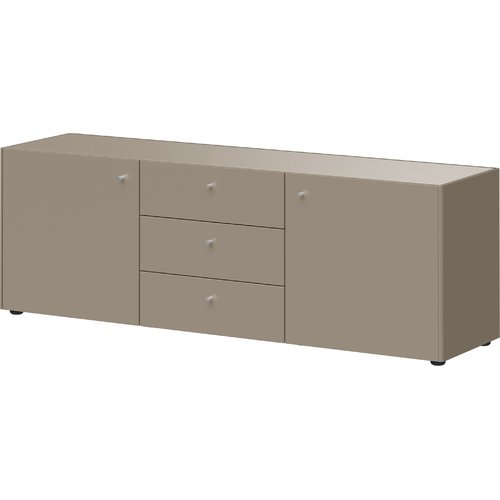 Schoner Wohnen Kollektion Monteo Sideboard Brown Drawers White Doors Grey Drawers