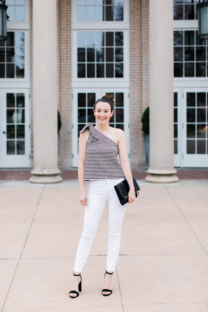 8f91caebf8d Club Monaco - One Shoulder Bow Top with White Jeeans   Style ...