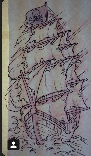 Traditional Pirate Ship Tattoo Drawing